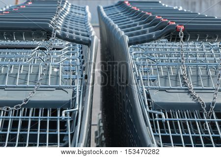 Wire modern supermarket shopping cart symbol of consumerism in france