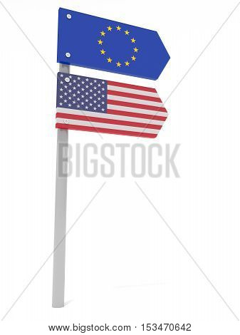 Partnership: US And EU Road Sign Pointing In The Same Direction 3d illustration