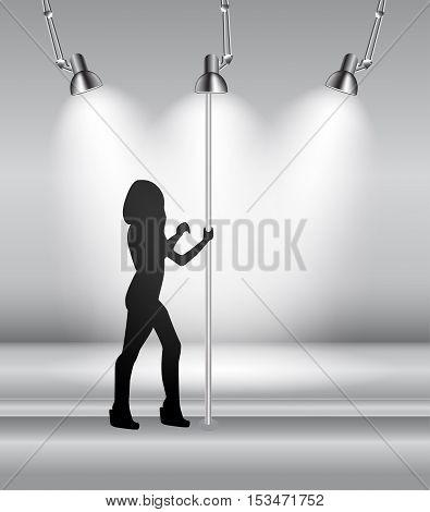 Silhouette of Dancing Striptease Girl on Pole. Vector Illustration. EPS10