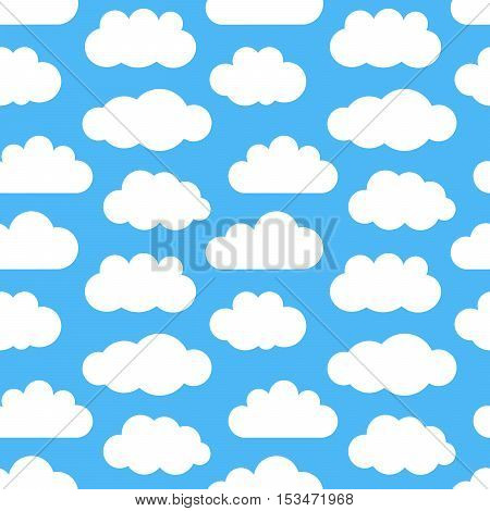 Clouds on sky seamless texture. Vector illustration