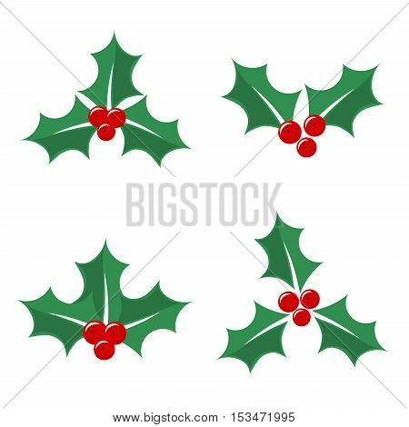 Christmas holly berry flat icons. Vector illustration