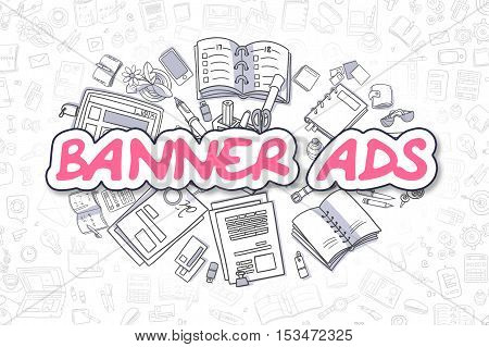 Cartoon Illustration of Banner Ads, Surrounded by Stationery. Business Concept for Web Banners, Printed Materials.