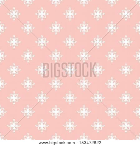 Floral vector pink and white ornament. Seamless abstract classic pattern with flowers