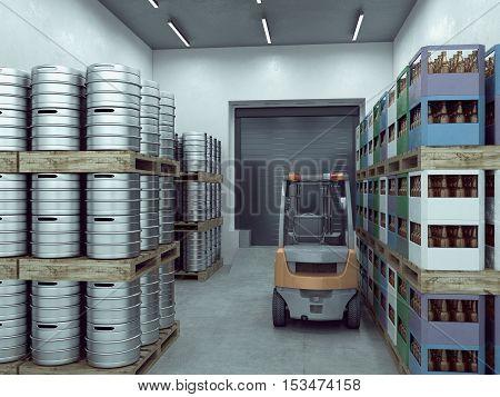 loader in the warehouse. 3d illustration .