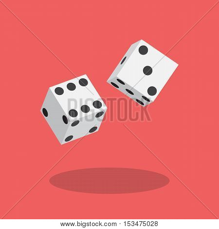 Dice flat icon. Vector illustration flat style