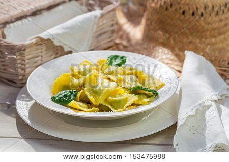 Ravioli With Ricotta, Spinach And Parmesan Cheese