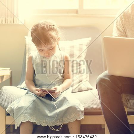 Father Daughter Using Devices Concept