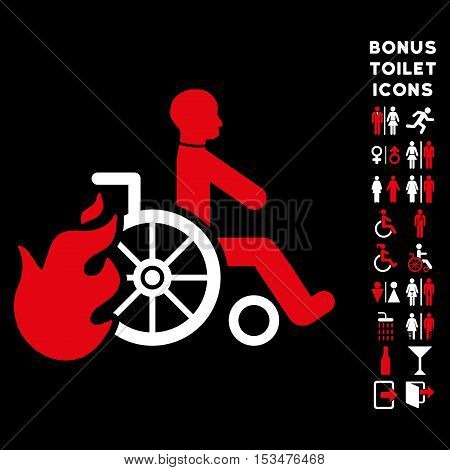 Burn Patient icon and bonus male and lady WC symbols. Vector illustration style is flat iconic bicolor symbols, red and white colors, black background.