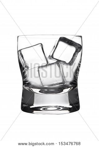Empty glasss of whiskey with ice cubes isolated on white background