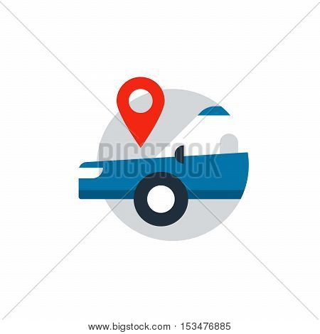 Blue sedan in a circle with location mark. Flat design vector illustration