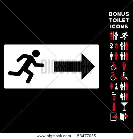 Emergency Exit icon and bonus man and lady lavatory symbols. Vector illustration style is flat iconic bicolor symbols, red and white colors, black background.