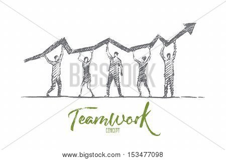 Vector hand drawn teamwork concept sketch. Team of five people standing and holding indicator of growth and development in common business on raised hands. Lettering Teamwork concept