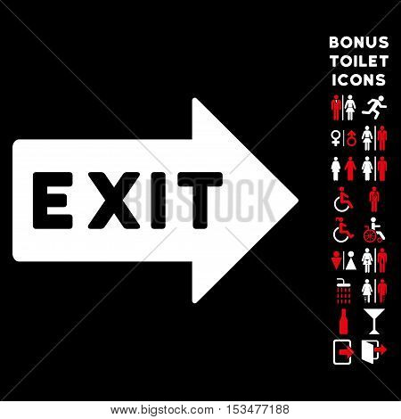 Exit Arrow icon and bonus gentleman and woman toilet symbols. Vector illustration style is flat iconic bicolor symbols, red and white colors, black background.