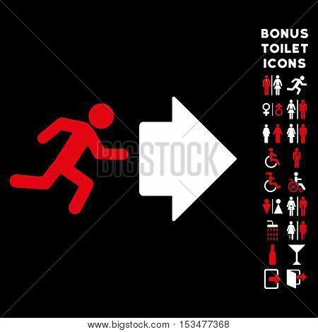 Exit Direction icon and bonus man and lady restroom symbols. Vector illustration style is flat iconic bicolor symbols, red and white colors, black background.