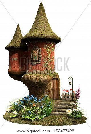 Fairy castle tower house with flowers 3D illustration