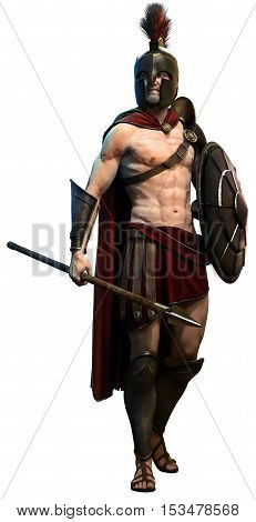 Spartan warrior with spear and shield 3D illustration