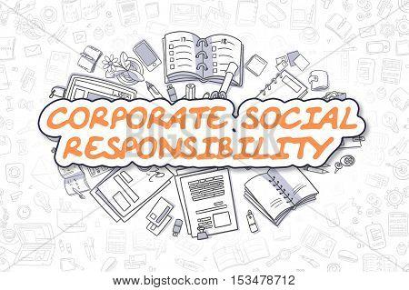 Corporate Social Responsibility - Sketch Business Illustration. Orange Hand Drawn Inscription Corporate Social Responsibility Surrounded by Stationery. Doodle Design Elements.