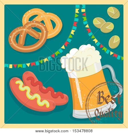 Snacks and beer Best Quality Sausages, pretzel and pistachios