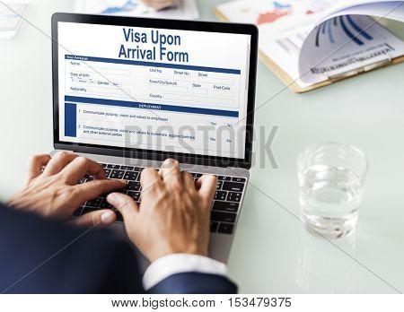 Business Online Visa Upon Arrival form Concept