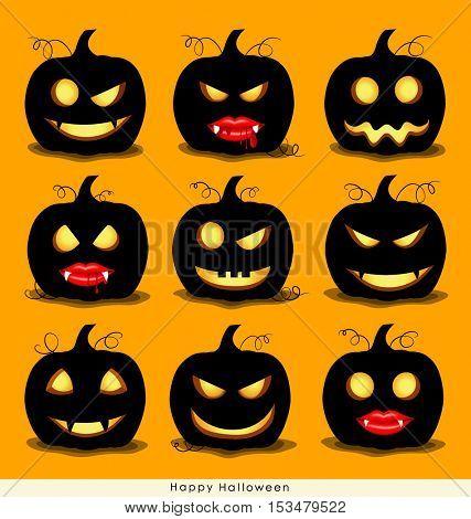 Happy Halloween background with Halloween pumpkin. Vector illustration.