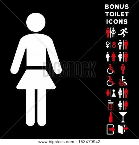 Lady icon and bonus gentleman and lady restroom symbols. Vector illustration style is flat iconic bicolor symbols, red and white colors, black background.