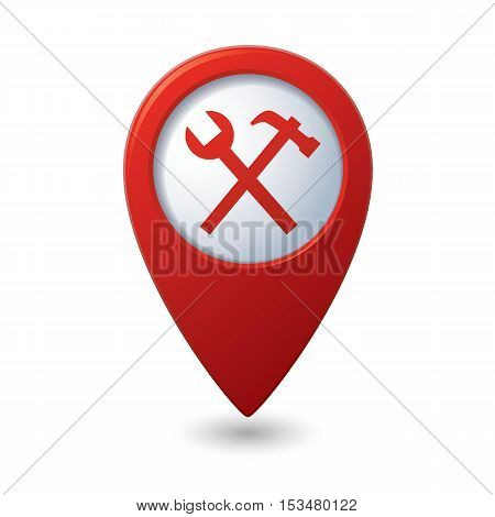 Map pointer with tools icon. Vector illustration