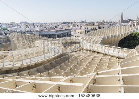 View from Metropol Parasol Giralda Cathedal in the background Seville Spain. Vista desde el Mirador Metropol Parasol catedral de la Giralda al fondo Sevilla España