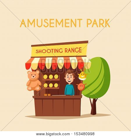Amusement park theme. Cartoon vector illustration. Vintage style. Good emotions. Shooting range