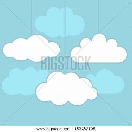 Clouds on blue sky. Flat design llustration