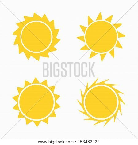Sun icons and symbols set. Flat design illustration