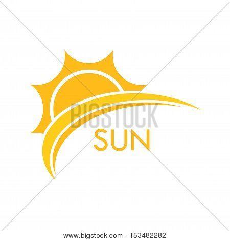 Sun logo symbol. Flat design icon illustration