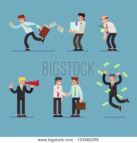 Flat Set of business people. Businessman in different situations. Vector illustration. eps10