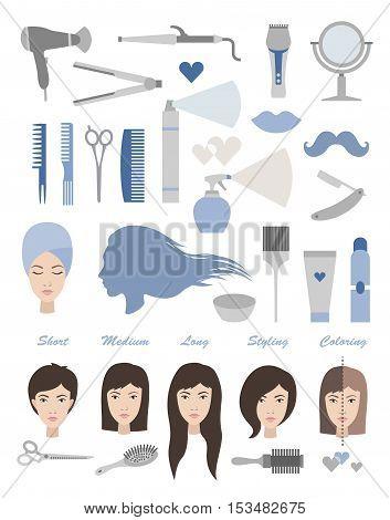 Hair salon vector set. Tools and hairsyles