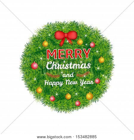 Merry Christmas and New Year colorful background label from pine branches and decoration