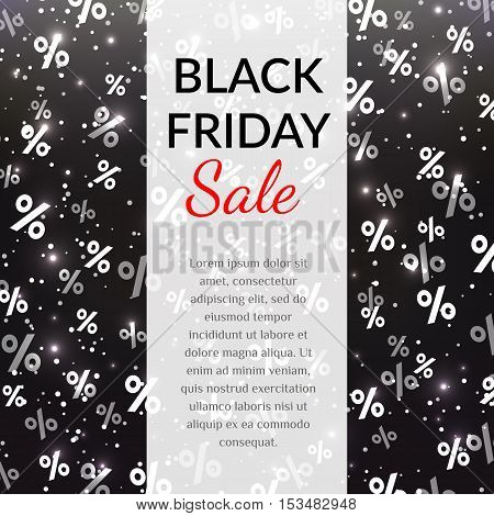 Vector sale poster with percents on black background. Black friday. EPS10