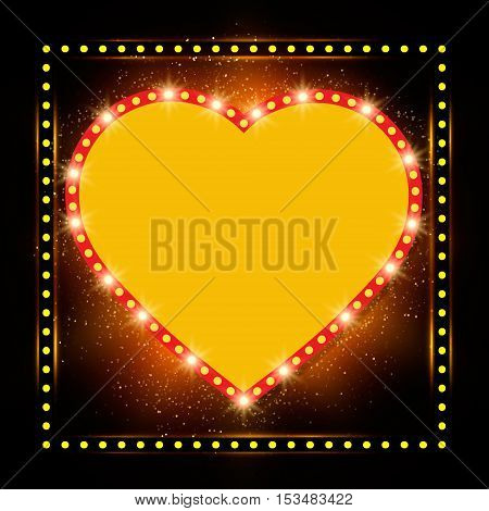 Shining Background With Retro Heart Light Banner