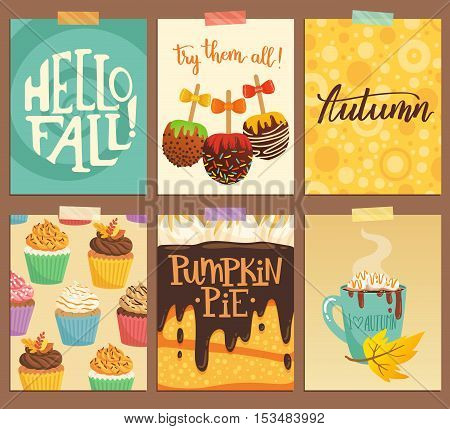 Set Of Cute Vector Cards About Autumn. Illustration With Pumpkin Pie, Caramel Apples, Hot Chocolate