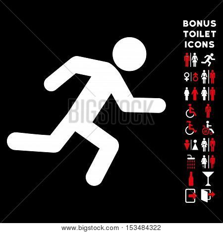 Running Man icon and bonus gentleman and lady lavatory symbols. Vector illustration style is flat iconic bicolor symbols, red and white colors, black background.