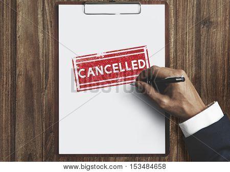 Delayed Banned Cancelled Denied Stamp Label Mark Concept