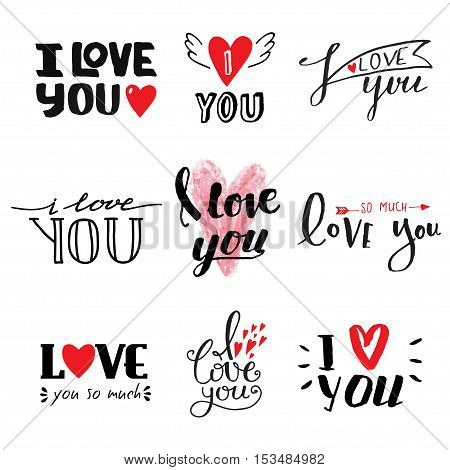 Vector I love You text hand drawn lettering collection, inspirational quote. Lovely text I love You follow your heart romantic type. I love You have greeting sign message decoration
