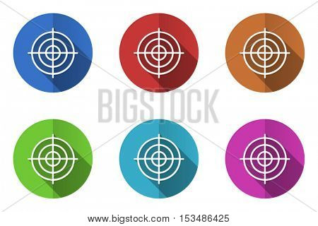 Flat design vector target icons. Web and app goal buttons.