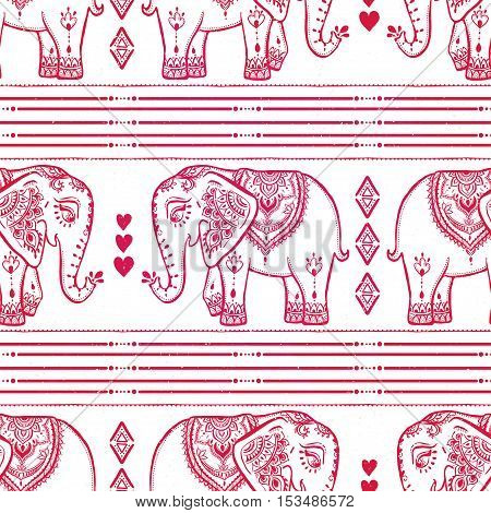 Pattern with baby elephant made in vector. Red Color illustration