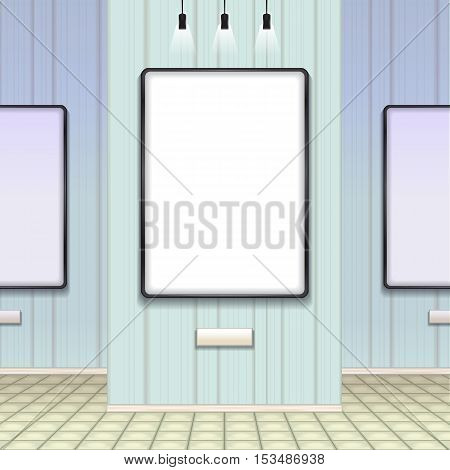 Color vector image mockup on the background wall in the gallery. mockup cliché blank template for advertising lighting tile, plate.