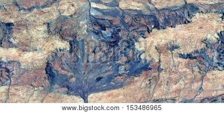 Abstract photography of landscapes of deserts of Africa from the air, Stone plant fantasy,