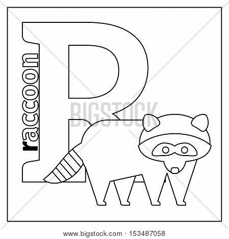 Coloring page or card for kids with English animals zoo alphabet. Raccoon, letter R vector illustration