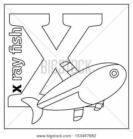 Coloring page or card for kids with English animals zoo alphabet. X ray fish, letter X vector illustration