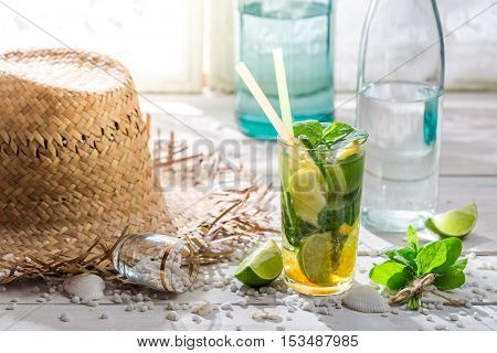 Fresh Summer Drink With Lemon, Lime And Sugar