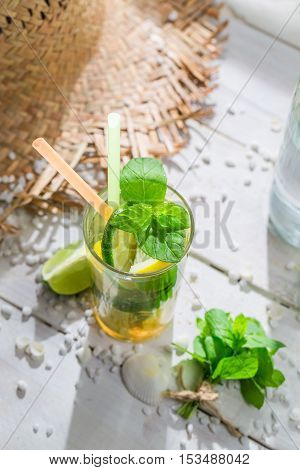 Tasty Drink With Lemon, Lime And Sugar