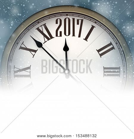 2017 New Year background with clock and snow. Vector illustration.