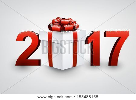 2017 New Year white background with gift and snow. Vector illustration.
